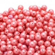Pastel Beads Round Czech Glass 6mm - Light Coral - 25pk