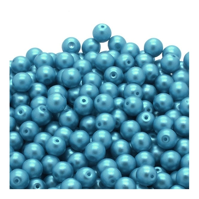 Pastel Beads Round Czech Glass 6mm - Sky Blue - 25pk