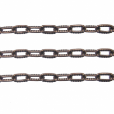 Patterend Oval Trace Chain 7x4mm - Antique Copper Plated - 1 metre