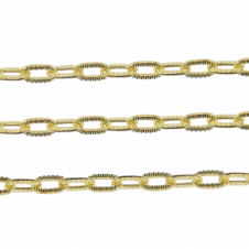 Patterend Oval Trace Chain 7x4mm - Gold Plated - 1m