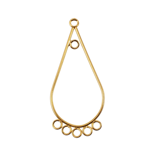 Pear Drop Earring Component Findings 40x19mm - Gold Plated - 2pk