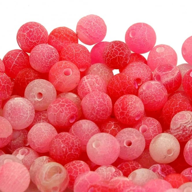 Pink Frosted Cracked Agate Gemstone Round Beads 8mm - 10pcs