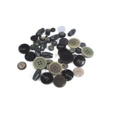 Plastic Button Mixes - Greys - 100g