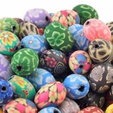 Polymer Fimo Clay Oval Beads 10x15mm - Flower Designs - 50pk