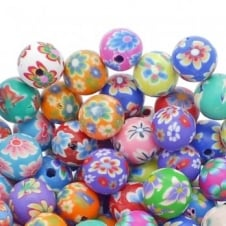 Polymer Fimo Clay Round Beads 10mm - Flower Designs - 50pk