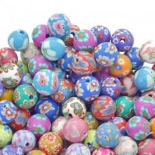 Polymer Fimo Clay Round Beads 8mm - Flower Designs - 50pk
