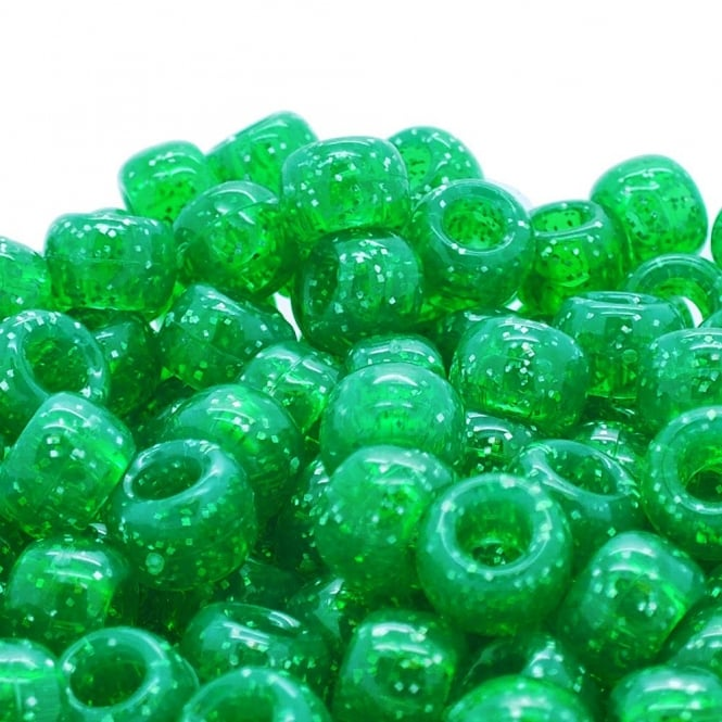 Pony Beads Plastic Barrel 6x8mm - Glitter Green - 100pk