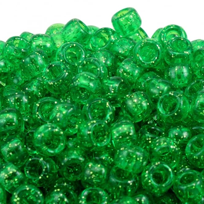 Pony Beads Plastic Barrel 6x8mm - Glitter Light Green - 100pk