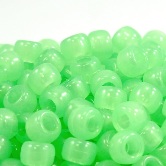 Pony Beads Plastic Barrel 6x8mm - Glow in Dark Green - 100pk