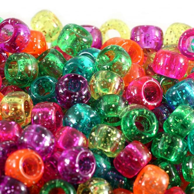 Pony Beads Plastic Barrel 6x8mm - Jelly Sparkle Glitter Mix - 100pk
