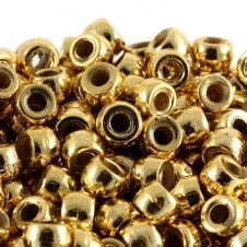 Pony Beads Plastic Barrel 6x8mm - Metallic Gold - 100pk