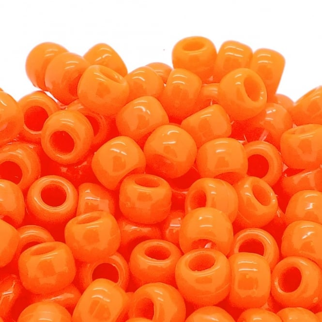 Pony Beads Plastic Barrel 6x8mm - Neon Orange - 100pk