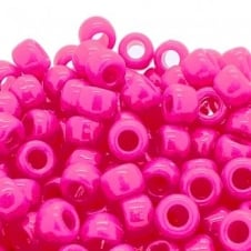 Pony Beads Plastic Barrel 6x8mm - Neon Pink 100pk