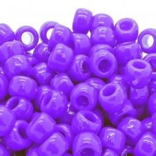 Pony Beads Plastic Barrel 6x8mm - Neon Purple - 100pk