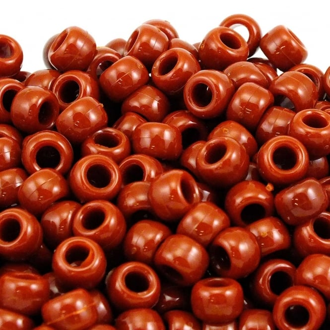 Pony Beads Plastic Barrel 6x8mm - Opaque Brown - 100pk