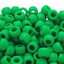 Pony Beads Plastic Barrel 6x8mm - Opaque Green - 100pk