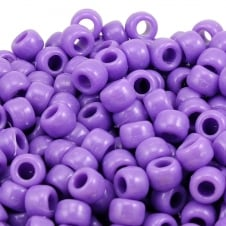 Pony Beads Plastic Barrel 6x8mm - Opaque Lilac - 100pk