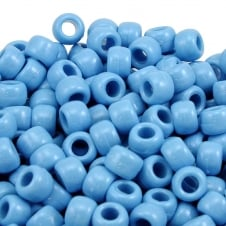 Pony Beads Plastic Barrel 6x8mm - Opaque Pale Blue - 100pk