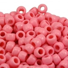 Pony Beads Plastic Barrel 6x8mm - Opaque Pale Pink - 100pk