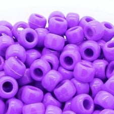 Pony Beads Plastic Barrel 6x8mm - Opaque Purple - 100pk