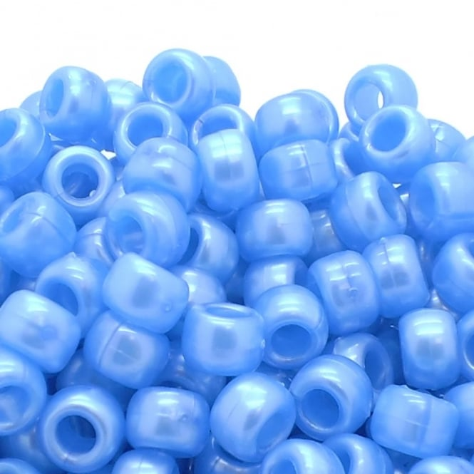 Pony Beads Plastic Barrel 6x8mm - Pearl Blue - 100pk