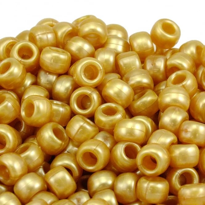 Pony Beads Plastic Barrel 6x8mm - Pearl Gold - 100pk