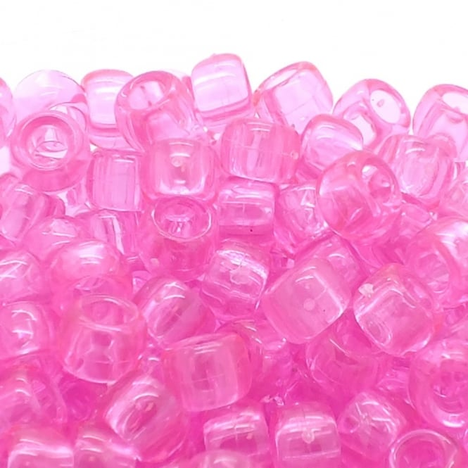 Pony Beads Plastic Barrel 6x8mm - Transparent Pink - 100pk