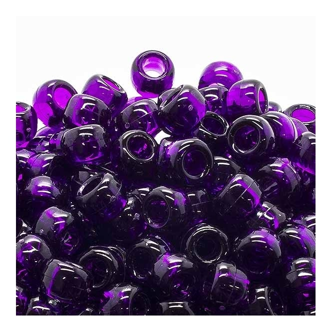 Pony Beads Plastic Barrel 6x8mm - Transparent Purple - 100pk