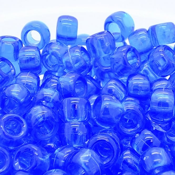 Pony Beads Plastic Barrel 6x8mm - Transparent Royal Blue - 100pk