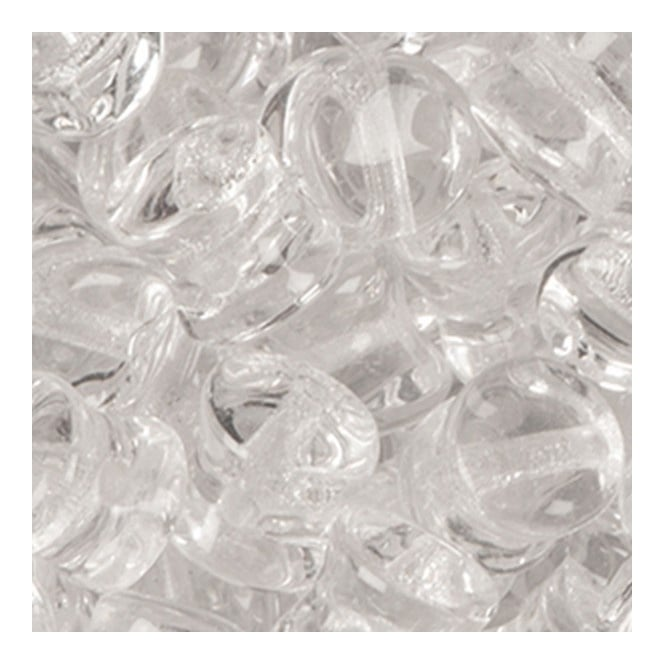 Glass Pellet Beads 4x6mm - Crystal - 30pk