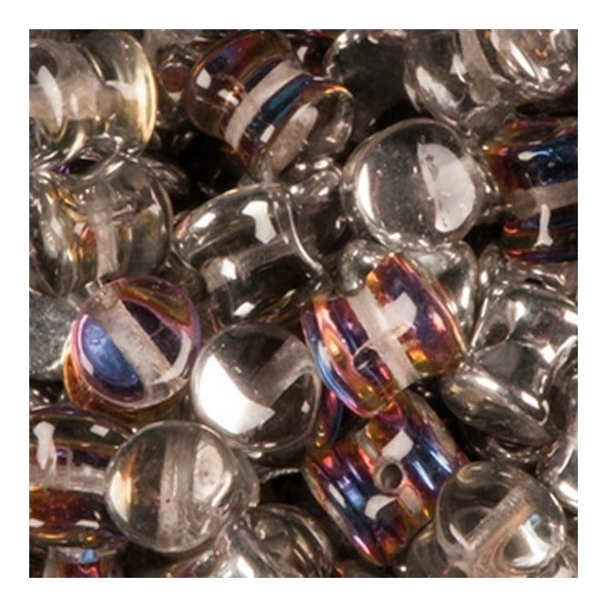 Glass Pellet Beads 4x6mm - Crystal Volcano - 30pk