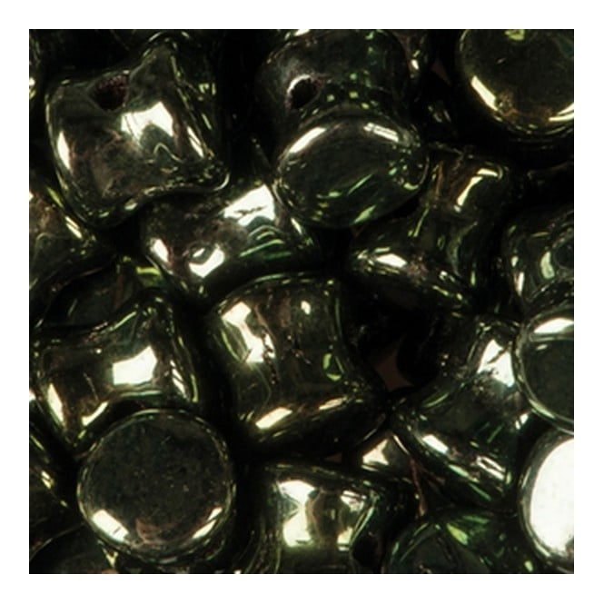 Preciosa Glass Pellet Beads 4x6mm - Jet Green Iris - 30pk