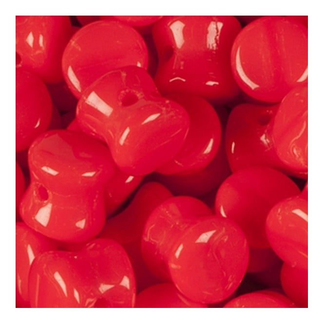 Glass Pellet Beads 4x6mm - Opaque Red - 30pk