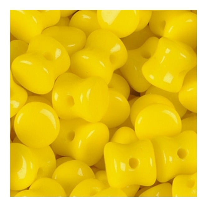 Glass Pellet Beads 4x6mm - Opaque Yellow - 30pk