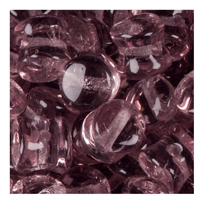Glass Pellet Beads 4x6mm - Transparent Amethyst - 30pk