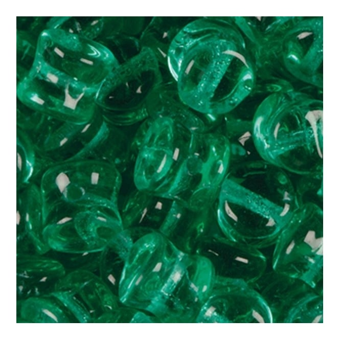Glass Pellet Beads 4x6mm - Transparent Green Turquoise - 30pk