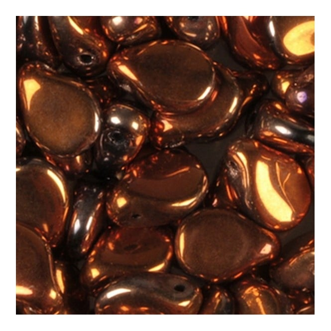 Glass Pip Beads 5x7mm - Jet Copper Sunset Metallic - 20pk