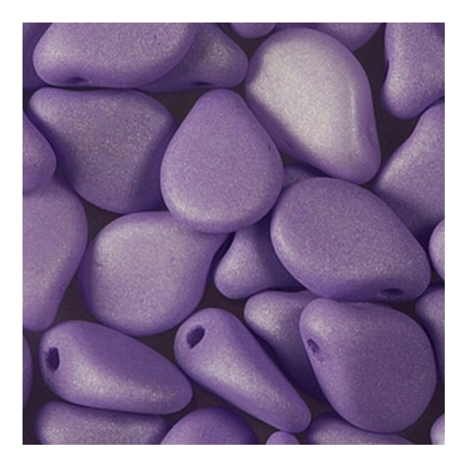 Glass Pip Beads 5x7mm - Pastel Purple Silk Matte - 20pk