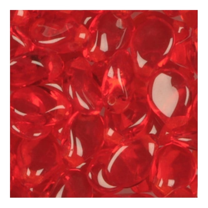 Glass Pip Beads 5x7mm - Transparent Red - 20pk