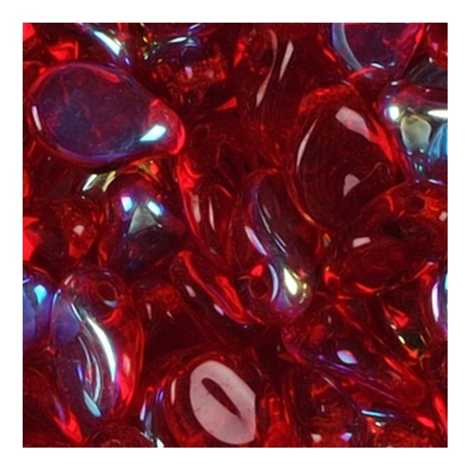 Glass Pip Beads 5x7mm - Transparent Red AB - 20pk