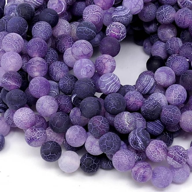"Purple Frosted Cracked Agate Round Gemstone Beads 8mm - 15"" String"