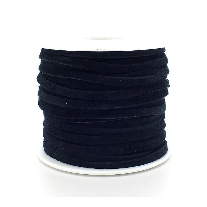 Real Leather/Suede Cord 3mm Flat Rustic String - Black - 2m
