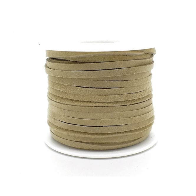Real Leather/Suede Cord 3mm Flat Rustic String - Camel - 2m