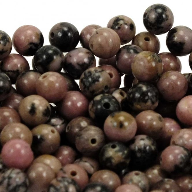 Rhodonite Round Gemstone Beads 8mm - 10pcs