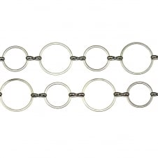 Round Link Fancy Chain - Silver Plated - 1 metre