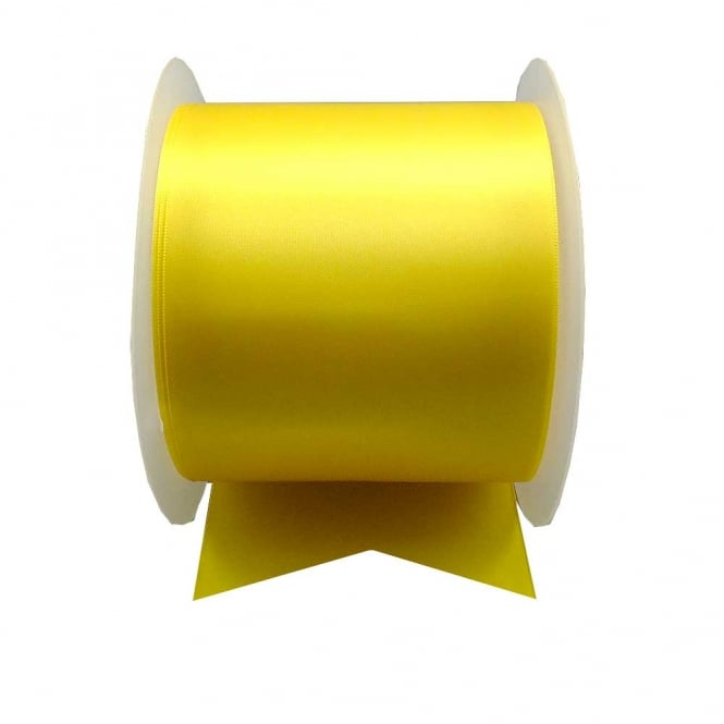 Satin Sash Ribbon 100mm (4inch) - Yellow - 1m