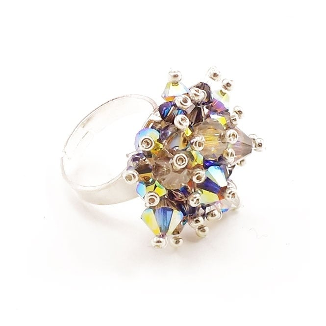 ad55806cf Satin Silver Mesh Ring Kit with Swarovski Crystals - The Bead Shop