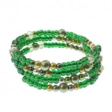 Seed Bead and Pearl Memory Wire Bracelet Kit - Green