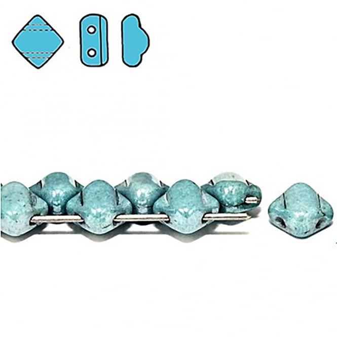 Silky Czech Glass Beads 5x3mm - Chalk Blue Lustre - 25 beads