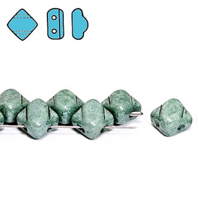 Silky Czech Glass Beads 5x3mm - Chalk Green Lustre - 25 beads